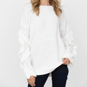 Haute Rogue Staple White Ruffled Sleeve Sweater